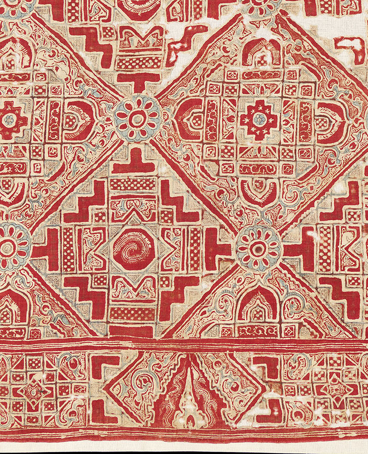 Indian Trade Cloth with Thai Temple motif