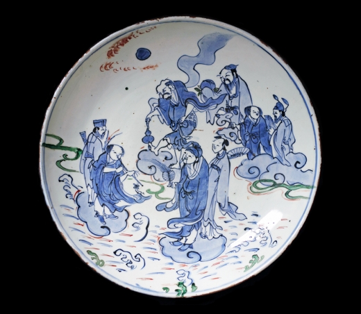 Nin'ami Dohachi (1783-1855). Ceramic dish with handle. Decorated with design of snow covered bamboo. Diameter: 23 cm (9 in).