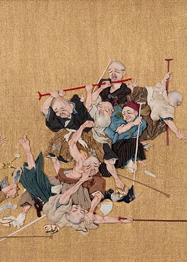 Seppo. Blind Men Brawling. Japan, Meiji period (1868-1912). Silk, gold and ink.