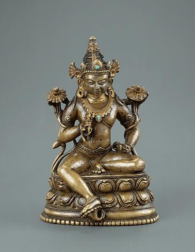 Vajrasattva. Copper alloy, gems, India, Pala period, 11th-12th c. 5 1/2 in (13.8 cm).
