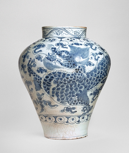 Anonymous. A Blue and White Dragon Jar. Korea, Late 18th century. Porcelain.