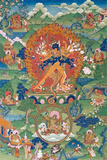 Kalachakra. Tibet, China, 18th century. Opaque watercolor on cloth.
