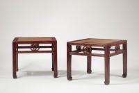 A pair of hongmu square stools